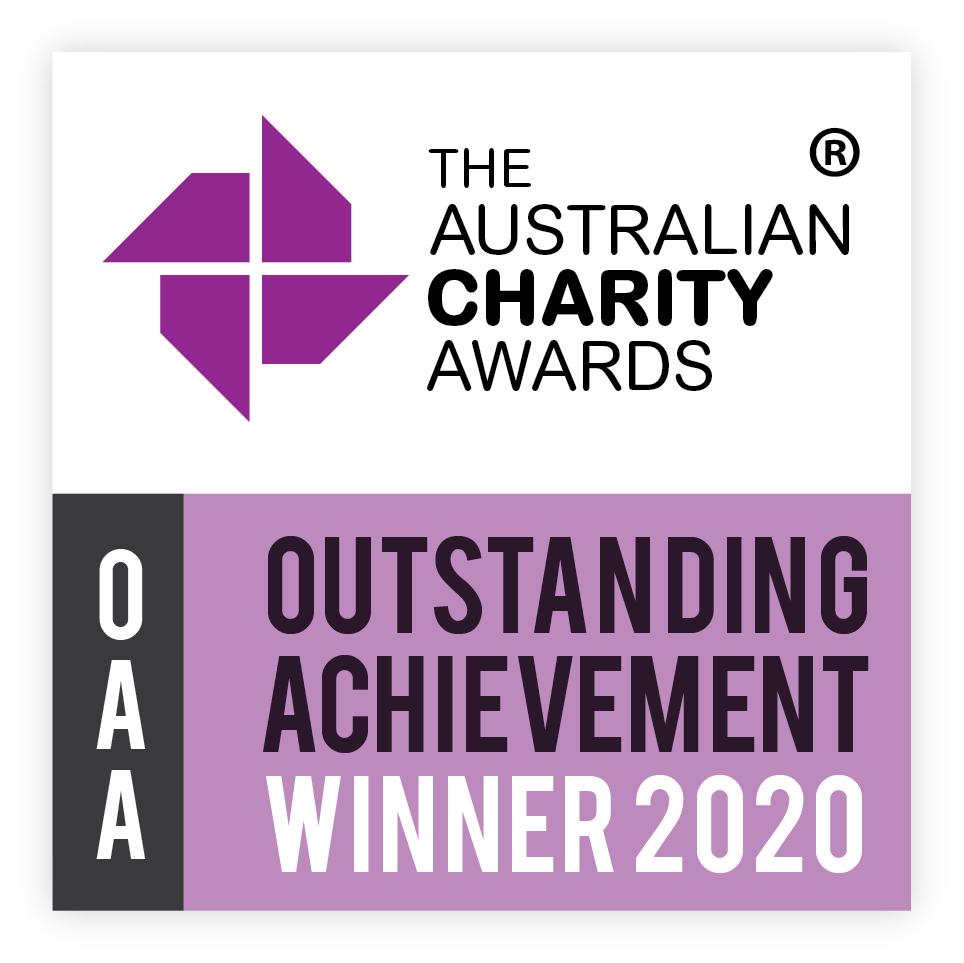 Logo for the Australian Charity Awards Outstanding Achievement Winner 2020